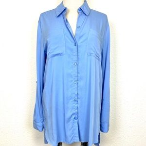 CHICO'S Tunic Length Button Front Top - Light Blue